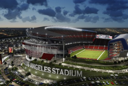 Artist rendering of a new NFL stadium suported by the Raiders and the Chargers in Carson, Calif.