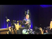 NFL Commissioner Roger Goodell With Vince Lombardi Trophy #SB50 – Video